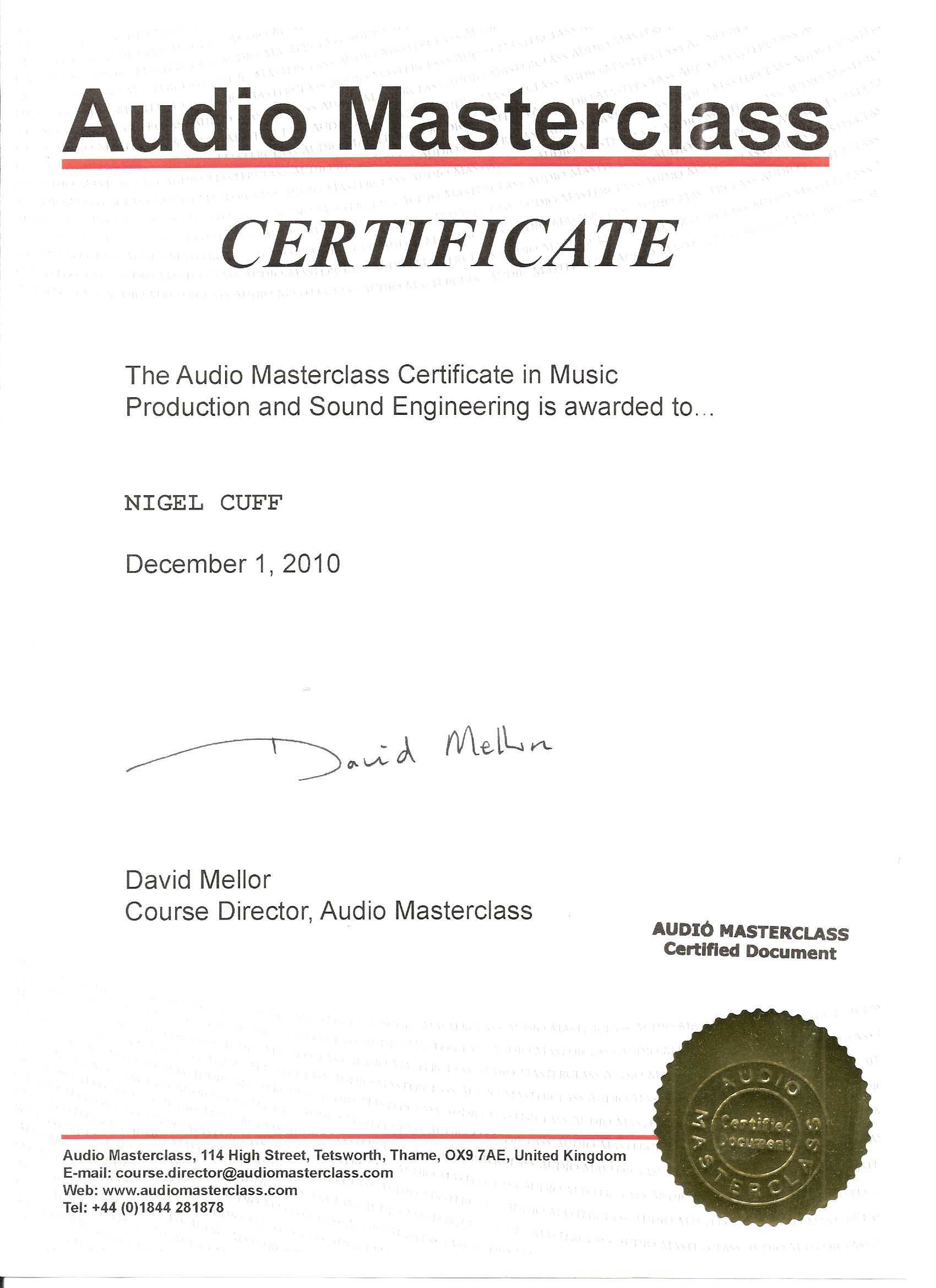 Nigel Cuff Demo Recording Services Songwriter Demo Service